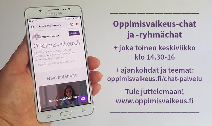 Oppimisvaikeus-chat ja -ryhmächat mainoskuva